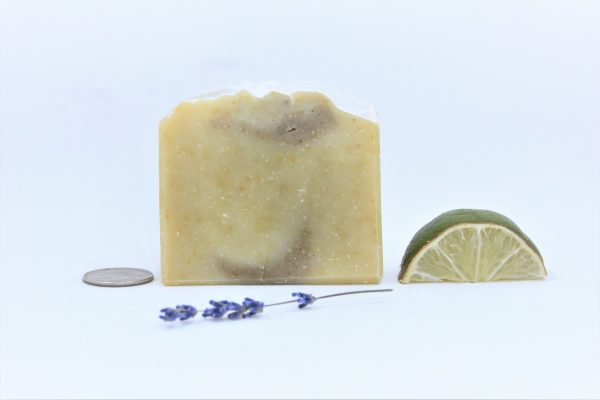 solid shampoo bar with lime and lavender